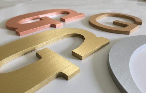 Flat Metal Letters Aluminum, Bronze Brass letters & Copper