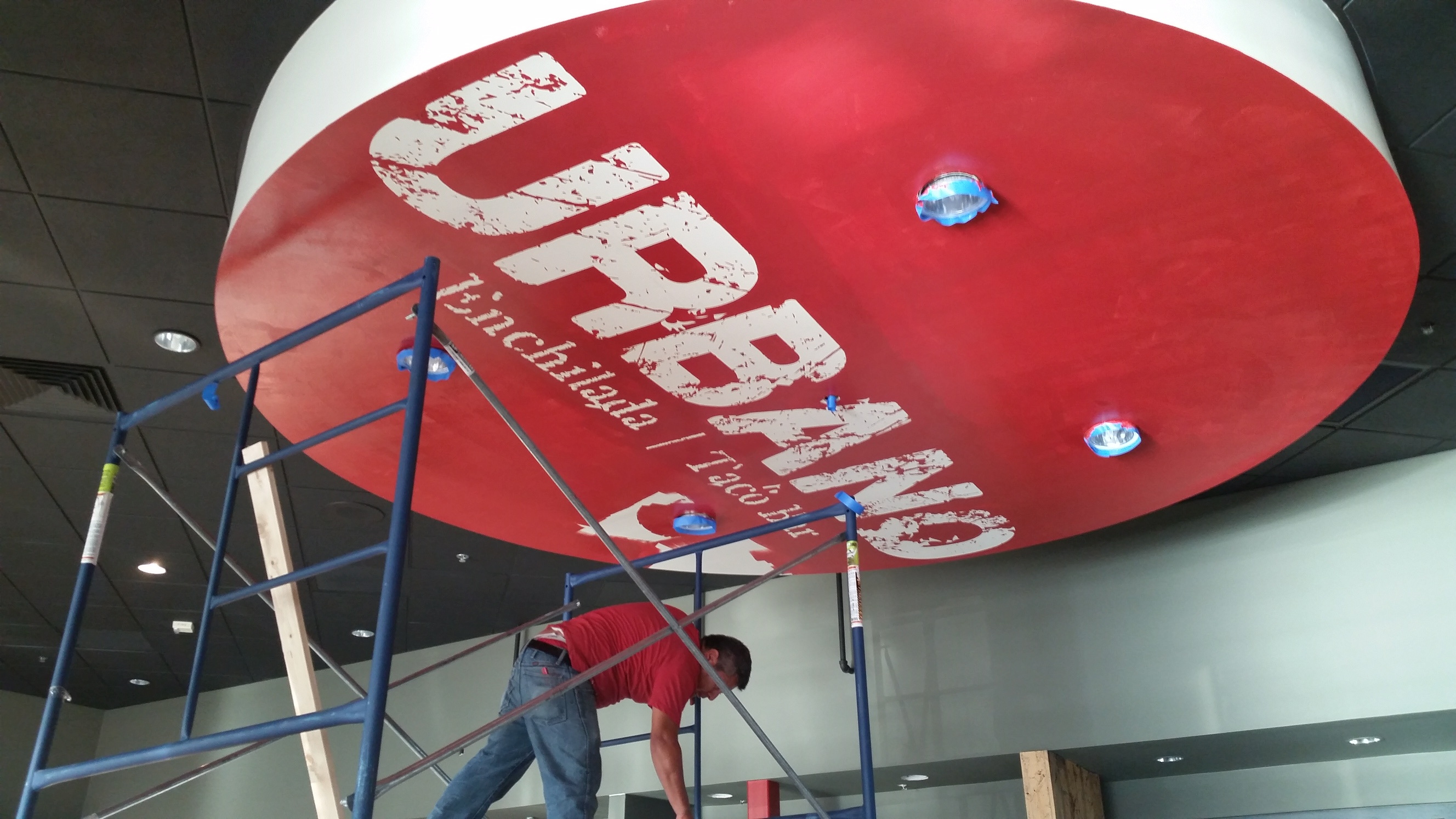 Hand painted ceiling and wall logo graphics