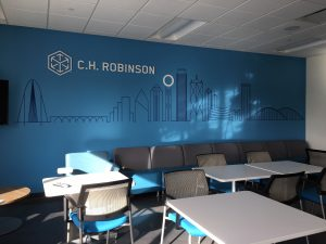 White Acrylic Logo installed on wall mural