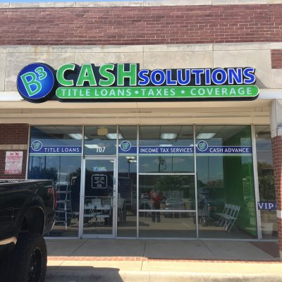 B3 Cash Solutions Front Lit Channel Letter Sign