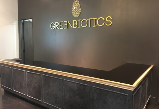 Greenbiotics acrylic logo sign