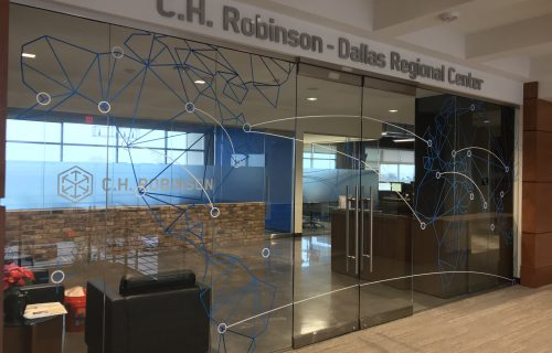 C.H. Robinson Dallas - Entrance Signs - Glass Mural - Aluminum Letters