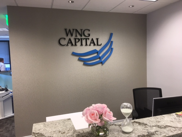 WNG Capital aluminum entrance sign