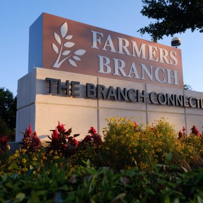 Farmer's Branch Masonry Monument Sign Illuminated Reverse Channel Letters