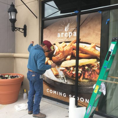 Arepa Restaurant - Coming soon glass signs