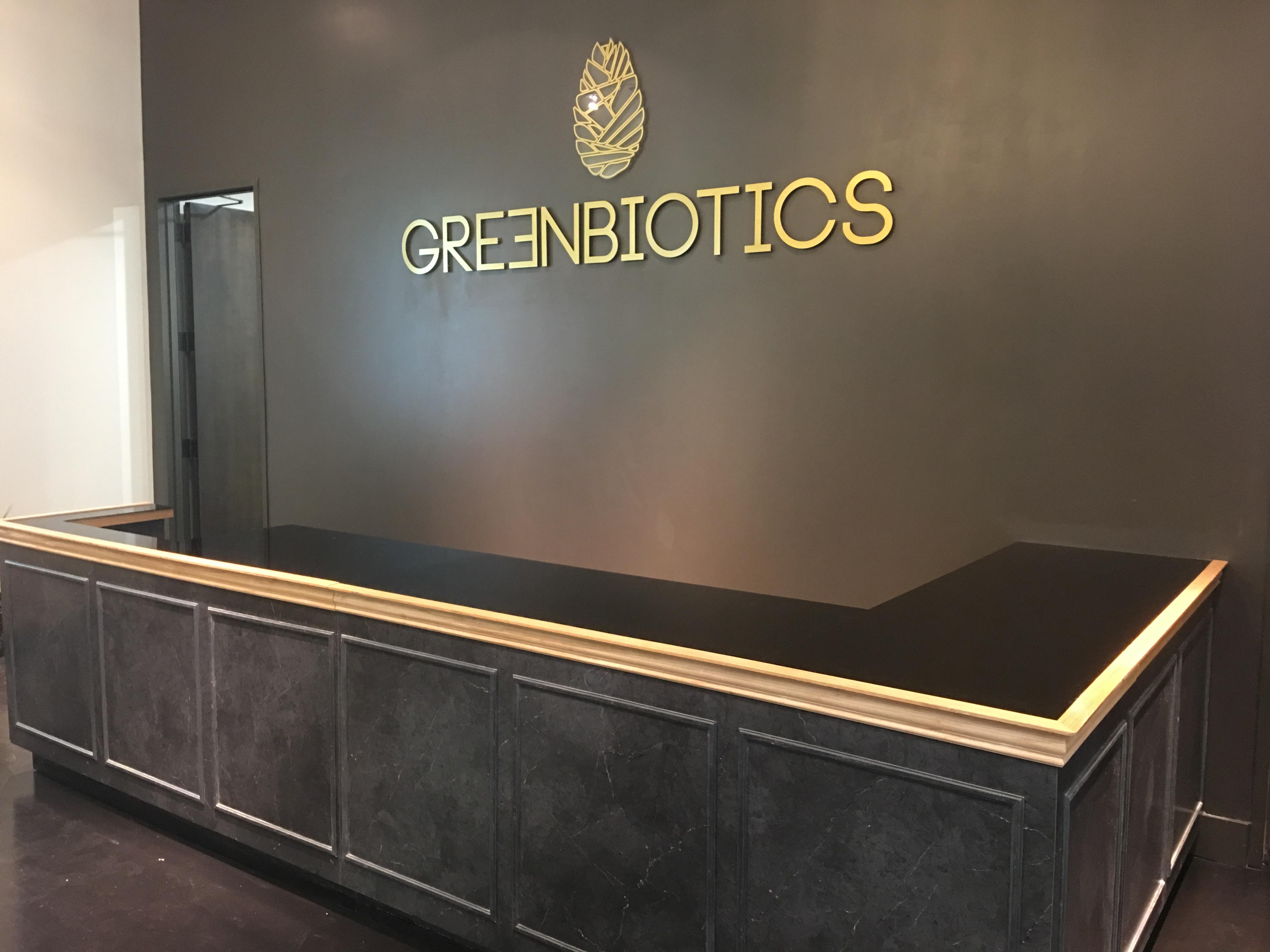 Greenbiotics acrylic logo sign