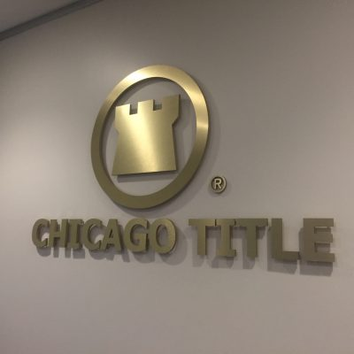 Chicago Title - Gold aluminum and acrylic logo sign