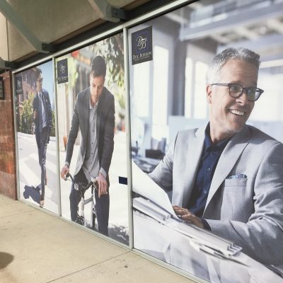 Retail Store Glass Vinyl Print advertisement for window frames